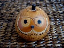 Collectible Gourd Owl Trinket Box - Original Handcarved in Peru - lucuma - 3""