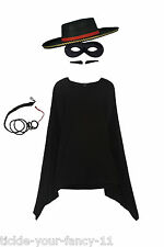 Para Hombre Zorro Disfraz Kit Máscara Cape Whip Tash Sombrero Fancy Dress Español Torero