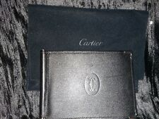 Authentic Paris Cartier Mens Bifold Black Wallet Black and Burgandy - New