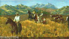 Horses Cowboys Riders Western Mountain Cattle Roundup Painting Wallpaper Border