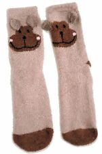 LADIES SOFT MONKEY SLIPPER SOCKS WITH GRIPPERS  UK SIZE 4-8 EUR 37-42 USA 6-10
