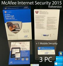 McAfee Internet Security 2015 Vollversion 3 PC Box + 1 Mobile Security OVP NEU
