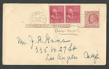 DATED 1942 PC 2c PREXIES X 2 ON 2c POSTAL PAYS 6c AIRMAIL RATE