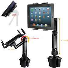 APPLE iPad AIR SURFACE PRO 4 TABLET LONG ARM Car Drinks Cup Holder TRIPOD Mount