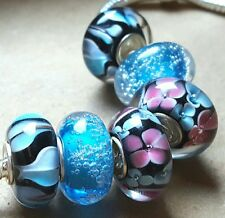 Black Pink & Blue Flowers Hearts Bubbles Single Core European Murano Glass Beads