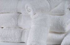 4 WHITE COTTON HOTEL BATH TOWELS LARGE 27X54 *PREMIUM* DOBBBY BORDER 17# DOZEN