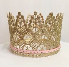 Metallic Gold Lace Crown- Baby Girl, First birthday, Photo Prop, Cake topper