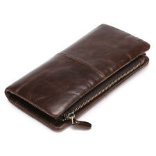 New Men's Genuine Leather Zipper Long Wallet Vintage Bifold Cowhide Card Holder
