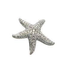 14K  WHITE  GOLD PAVE DIAMOND ANIMAL STARFISH SEA STAR PENDANT NECKLACE