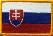 SLOVAKIA Flag Embroidery Iron-On Patch Military Emblem Gold Border #090