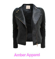 NEW LADIES BIKER JACKET CROP PVC FAUX LEATHER PU GOLD ZIP STUD COAT SIZE 8-16