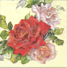 6 Small Single Paper Table Napkins for Decoupage Rose Wreath 25X25 cm