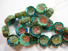 10 beads - Aqua Blue Turquoise Picasso Czech Glass Flower Beads 14mm