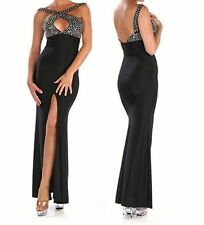 Sexy Black Cocktail Evening Dress Rhinestones Cross Over Top Slit to Thigh