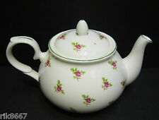 Dot Rose English Fine Bone China 6 Cup Tea Pot By Milton China (Green Rim)