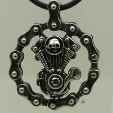 cool & heavy 61g skull chain motorcycle engine 316L s. steel pendant necklace