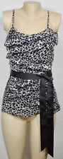 JESSICA SIMPSON Black/Beige Animal Print Ruffled Top Small Spaghetti Straps Belt