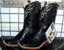 ANDERSON BEAN BLACK SQUARE TOE FULL QUILL LEATHER SOLE OSTRICH COWBOY BOOTS 9 D