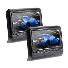 "USA 2x9"" HD Auto Car Pillow Headrest Monitor DVD Player FM, Wireless Games Black"