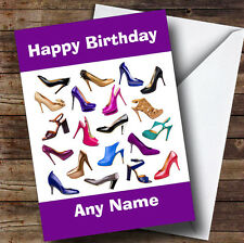 Girls Shoe Fetish Fan Personalised Birthday Greetings Card