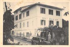 """9419) FIUGGI FONTE (FROSINONE) PENSIONE """"QUI SI SANA"""" OMNIBUS E PERSONE VG 1935."""