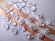 PEACH/WHITE MIXED COLLECTION OF RIBBON/ROSES/MOTIFS/BOWS *GREAT FOR CARD MAKERS*
