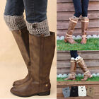 Women Ladies Winter Leg Warmers Button Crochet Knit Boot Socks Toppers Cuffs