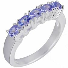 NWT 1.50ct AA TANZANITE ETERNITY [5 stone ring 0.30ct each] size P s/silver ring