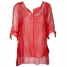 Lagenlook Italian Gorgeous Coral Silk & Lace Embroidered One Size Blouse/Tunic