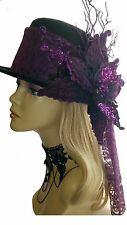 Victorian Steampunk Style LIMITED EDITION Top Hat with Velvet Flower and Lace