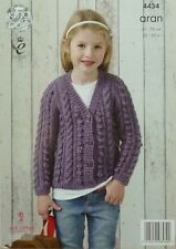 KNITTING PATTERN Childrens Long Sleeve V-Neck Cable&Bobble Cardigan Aran KC 4434