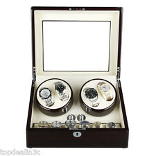 Watch Winder 4+6 Storage Case Display Box Automatic Auto Rotation Self-winding