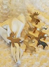 Vintage Romantic Brass Reindeer Christmas Napkin Rings Holders Set of 7