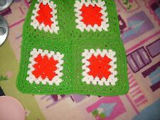 Christmas crochet afghan sqaures for pillows or to make into a tablecloth lot