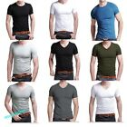 Stylish Men's Slim Fit V-neck/crew neck T-shirt Short Sleeve Muscle Tee