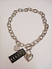 NWT GUESS CHUNKY SILVER TONE CHAIN TOGGLE NECKLACE/CHOKER PUFFED HEART & PAVE