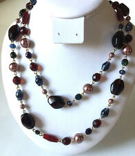 """Joan Rivers  Red Brown Blue Green Chocolate Beaded Necklace Gold Overlay 24"""""""