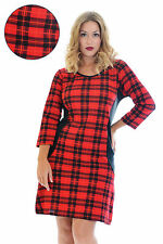 New Womens Dress Ladies Tartan Plus Size Bodycon Scotish Check Midi Nouvelle