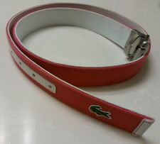 LACOSTE Women's Reversible Belt, White Leather/Pink Cotton, Size M, EUC