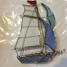 """Handmade Stained Glass Sailboat Blue-White 9023-G Size 7.25 L"""" x 2.5 D"""" x 8''H"""