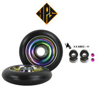 NEW 2 NEO CHROME STUNT SCOOTER SOLID METAL CORE WHEELS 100mm 88A ABEC 11 BEARING