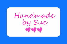 HAND MADE BY PERSONALISED GLOSSY CRAFT STICKERS, SEALS LABELS HEARTS  (ML20)