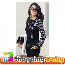 Ladies Black White Stripes Long Sleeve Stand Collar Shirt Tops Black