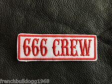 BIKER PATCH AUFNÄHER 666 CREW Kutte Chopper MC Red&White 81 Neu
