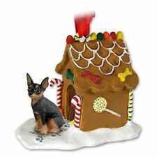 Miniature Pinscher Black Dog Ginger Bread Gingerbread House Christmas ORNAMENT