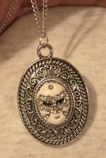 Swirl Rimmed Etch Detail Silvertn White Finish Mardi Gras Mask Pendant Necklace