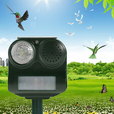 PIR Motion Sensor Solar Animal Repeller Repellent Birds Bat Dog Sound Flashlight