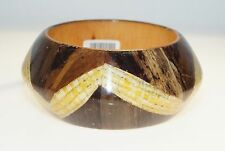 "Chunky Lacquered Wood Straw Weave Bangle 8"" Bracelet"