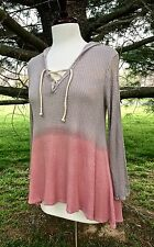 NWT Thermal Stretch Hooded Lace Up Swing Tunic Top Ombre gray pink hi lo hem L