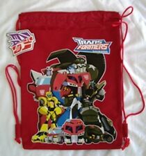 Red Transformers Prime Bumble Bee Licensed Drawstring Backpack Sling Tote Bag :)